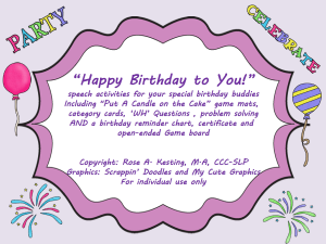 """""""Put a Candle on the Cake"""" A speechie game and birthday ..."""