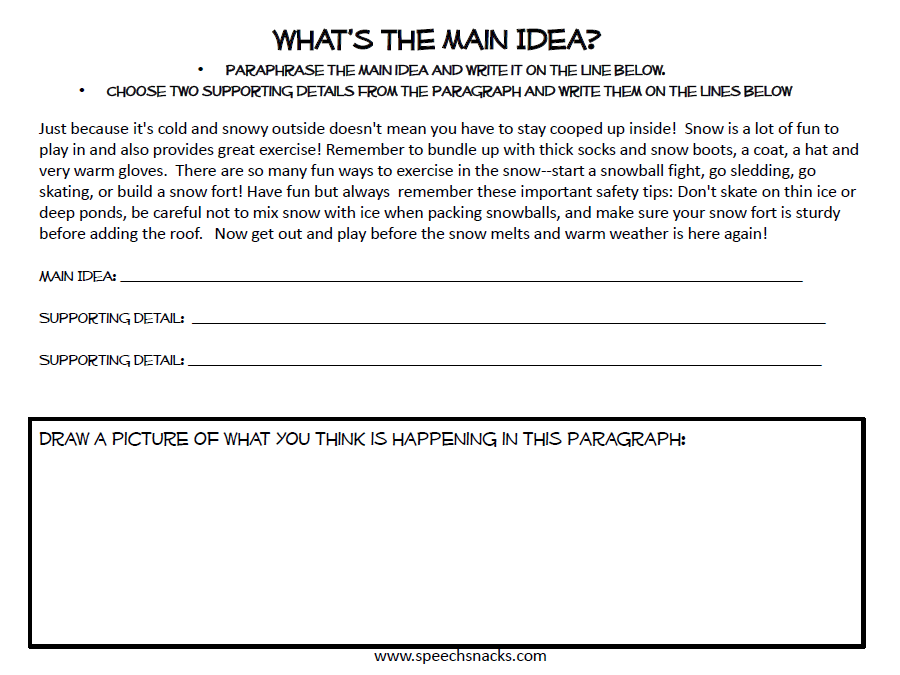 Getting the Main Idea Across with Main Idea Cookies – Supporting Details Worksheets